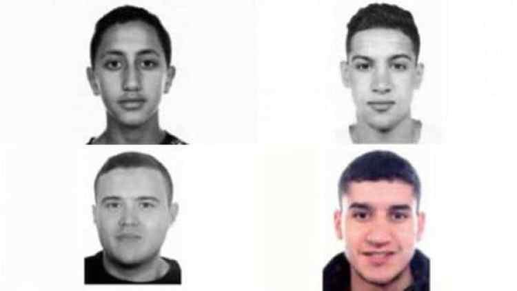 De arriba a abajo y de izquierda a derecha, Moussa Oukabir, Said Aallaa, Mohamed Hychami y Younes Abouyaaqoub