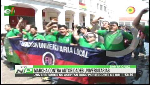 Estudiantes de la Uagrm marchan para exigir más presupuesto