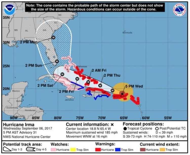 Pronóstico del Huracán Irma. Boletín de las 5 pm – miércoles 6