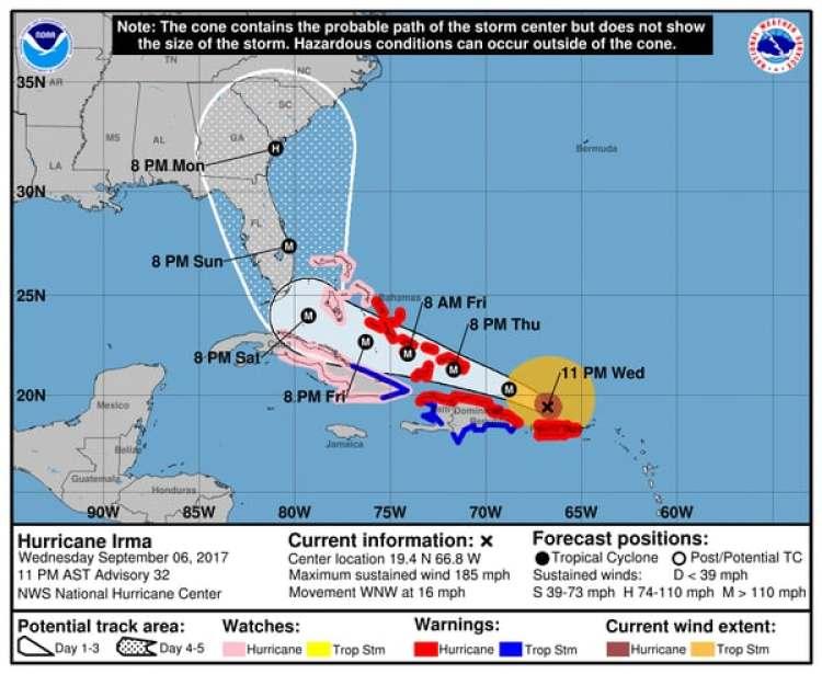 Pronóstico del Huracán Irma. Boletín de las 11 pm – miércoles 6