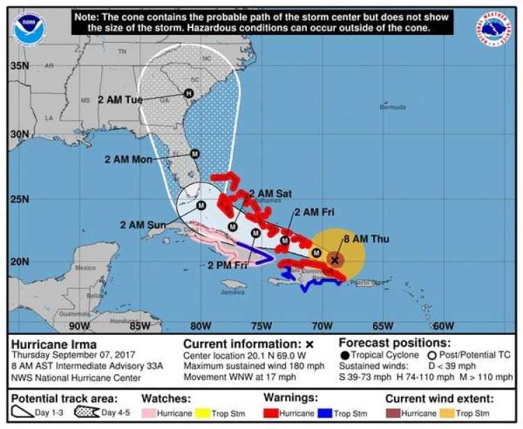 Pronóstico del Huracán Irma. Boletín de las 8 am – jueves 7