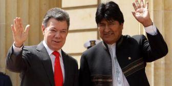 """Narcotráfico: Evo expresa a Santos su solidaridad ante """"chantajes"""" de EEUU de descertificar a Colombia"""