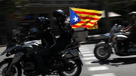 Una motocicleta con la bandera independentista durante la celebración del Día de Cataluña, el pasado 11 de septiembre