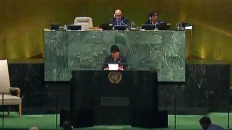 Morales y el momento de su discurso en la Asamblea General de la ONU