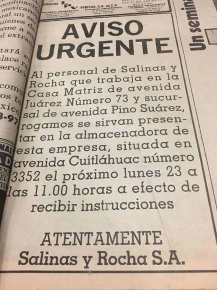 La publicación de El Universal, tras el terremoto de 1985