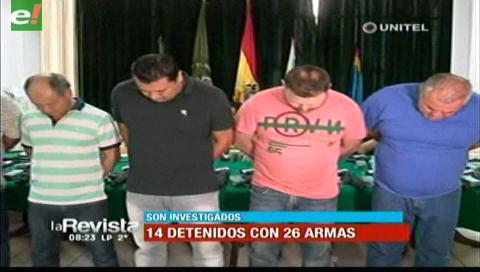 14 detenidos con 26 armas en operativo policial en Santa Cruz