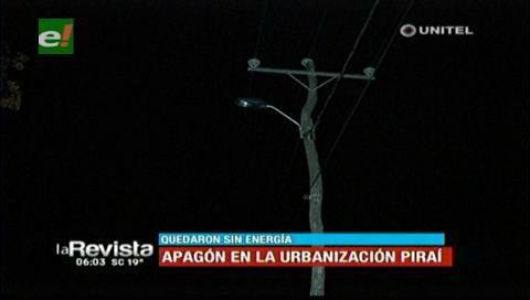 Apagón en la urbanización Piraí dejó molestos a vecinos
