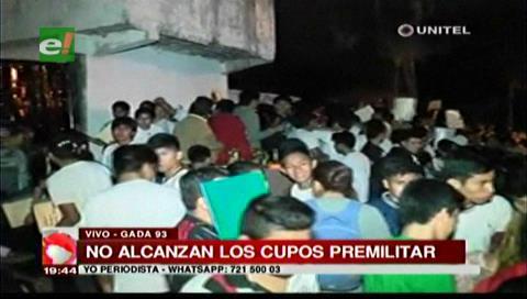 Santa Cruz: No alcanzan los cupos para los jóvenes que quieren inscribirse a la premilitar