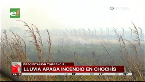Lluvia apagó el incendio forestal en las serranías de Chochís