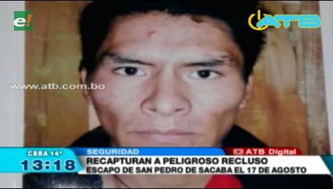 Policía recaptura a recluso en Cochabamba