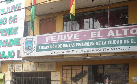 Oficinas de la Fejuve El Alto.