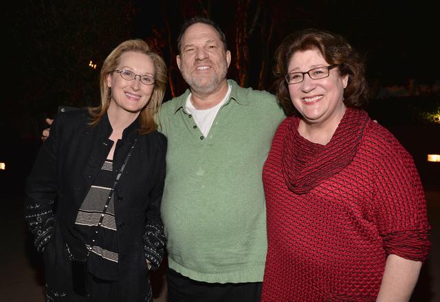 Meryl Streep con Harvey Weinstein y Margo Martindale tras una proyección de