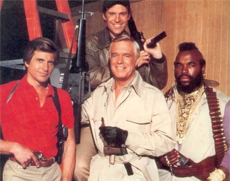 Los actores protagonistas de 'Brigada A': Dirk Benedict, Dwigth Schultz, George Peppard y Mr. T.