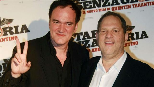 Quentin Tarantino junto a Harvey Weinstein