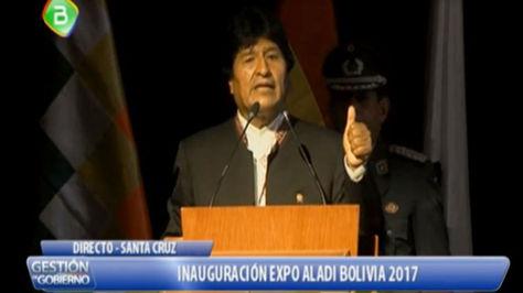 Evo Morales durante su discurso de inauguración de la Expo Aladi en Santa Cruz de la Sierra.