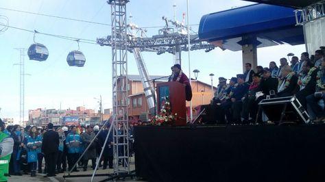 Acto de inicio de obras de construcción de la Línea Plateada del Teleférico en El Alto. Foto: Mi Teleférico