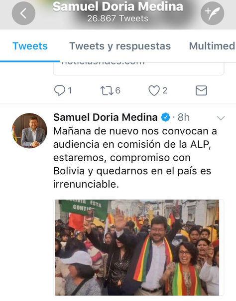 El mensaje escrito por Samuel Doria Medina en su cuenta oficial de Twitter.