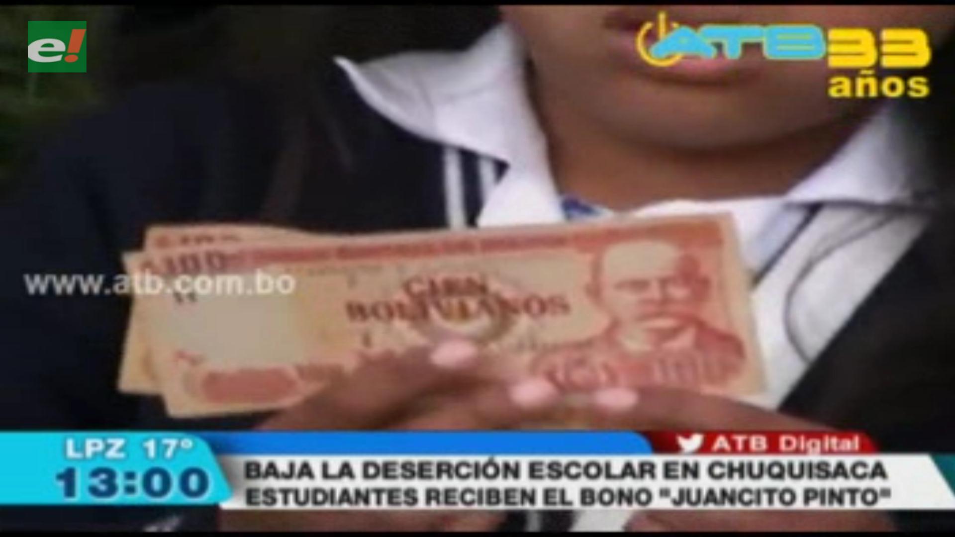 Entrega del bono Juancito Pinto ayudó a bajar la deserción escolar a un 1%