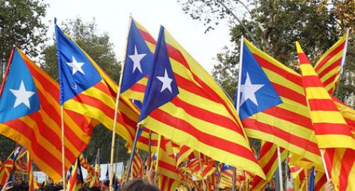Banderas del independentismo de Cataluña.