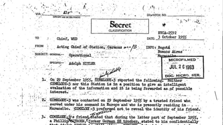 Uno de los documentos desclasificados, originado por la CIA, sobre Adolf Hitler.
