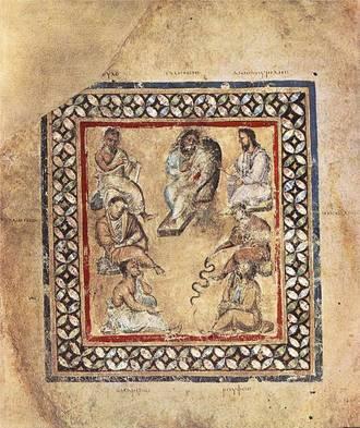 Grupo de médicos representados en el Dioscórides de Viena, entre ellos Galeno. (Wikimedia Commons)