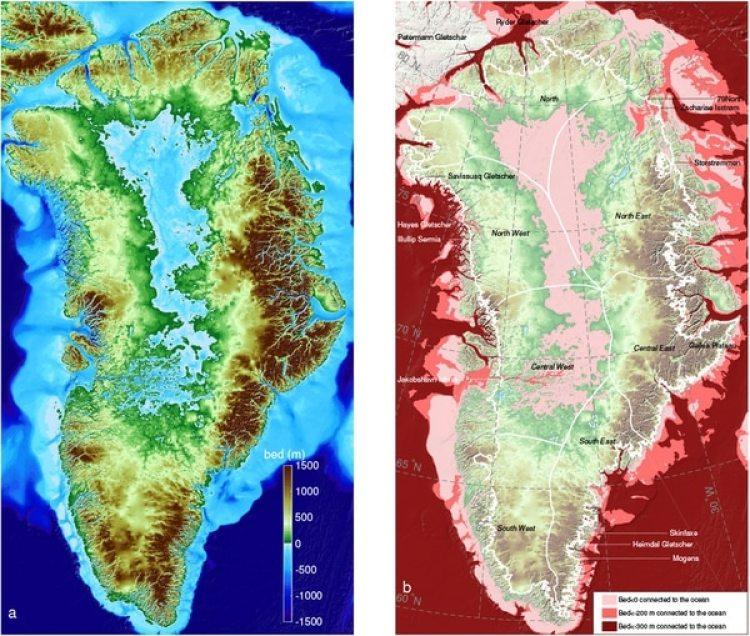 La imagen muestra la costa de Groenlandia en la reconstrucción de BedMachine, antes y después de la inclusión de los datos del nuevo mapa de la campaña OMG de la NASA. (Universidad de California en Irvine, UCI)