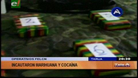 Tarija: La Felcn en dos operativos logró incautar cocaína y marihuana