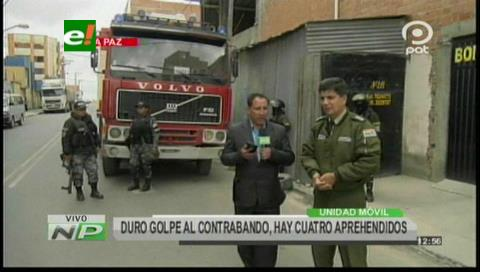 Aduana decomisa tres camiones en Patacamaya en medio de grescas con contrabandistas