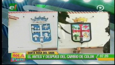 Santa Rosa del Sara: Pintan escudo cruceño a su color original