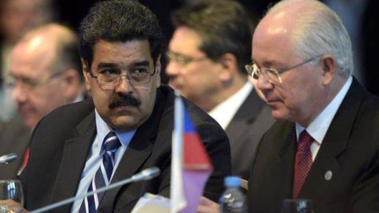 Rafael Ramírez junto a Nicolás Maduro