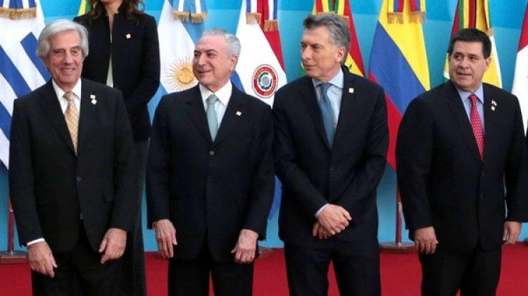 Tabaré Vázquez, Michel Temer, Mauricio Macri y Horacio Cartes