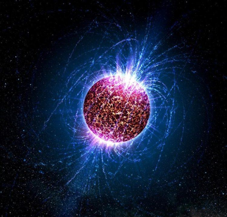 Ilustración de una estrella de neutrones