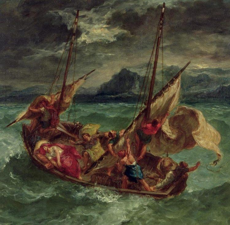 Cristo en el mar de Galilea, por Eugene Delacroix. 1854