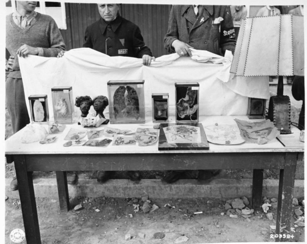 Piel tatuada y otros restos humanos hallados en Buchenwald tras su liberación.