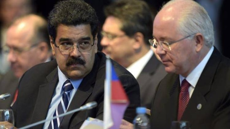Nicolás Maduro junto a Rafael Ramírez (Archivo)