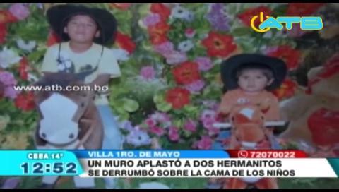 Dos hermanitos de 5 y 2 años murieron aplastados por un muro en Cochabamba