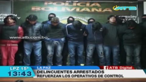 Detienen a delincuentes de tres bandas delictivas en La Paz
