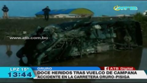 Vuelco de surubí en carretera Oruro-Pisiga deja 12 heridos