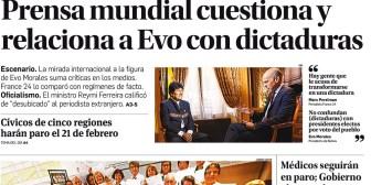 Portadas de periódicos de Bolivia del jueves 14 de diciembre de 2017