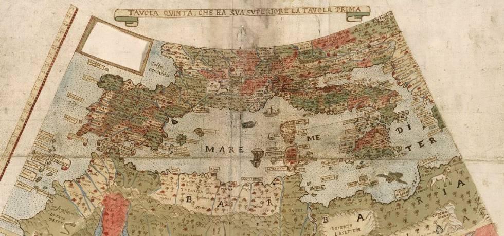 Detalle del mapa: sur de Europa y norte de África.