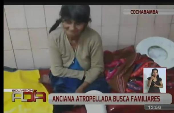Mujer de la tercera edad fue atropellada y busca a sus familiares en Cochabamba