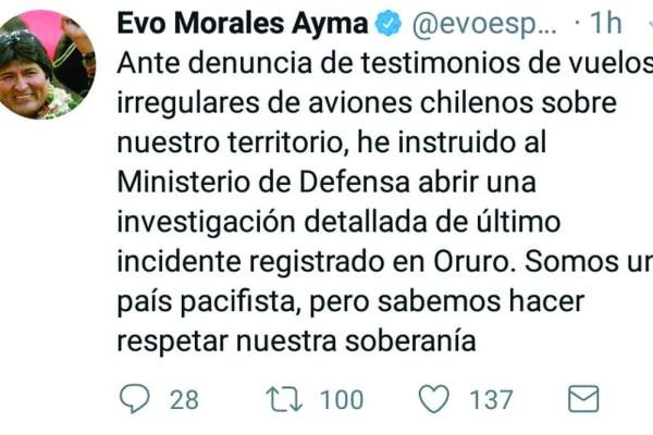 Evo pide investigar supuestos vuelos chilenos en el territorio