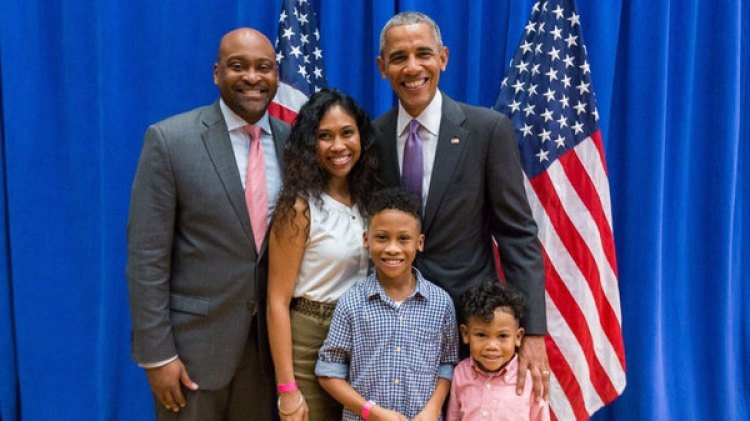 Braynon junto a su mujer y dos hijos durante un encuentro con Barack Obama