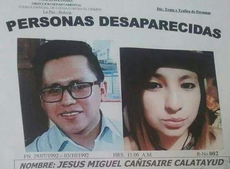 El anuncio de la desaparición de Jesús Cañisaire y Carla Bellott