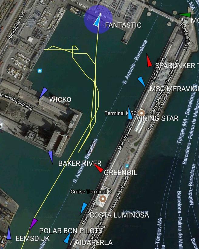 Trayectoria de la embarcación en el puerto de Barcelona