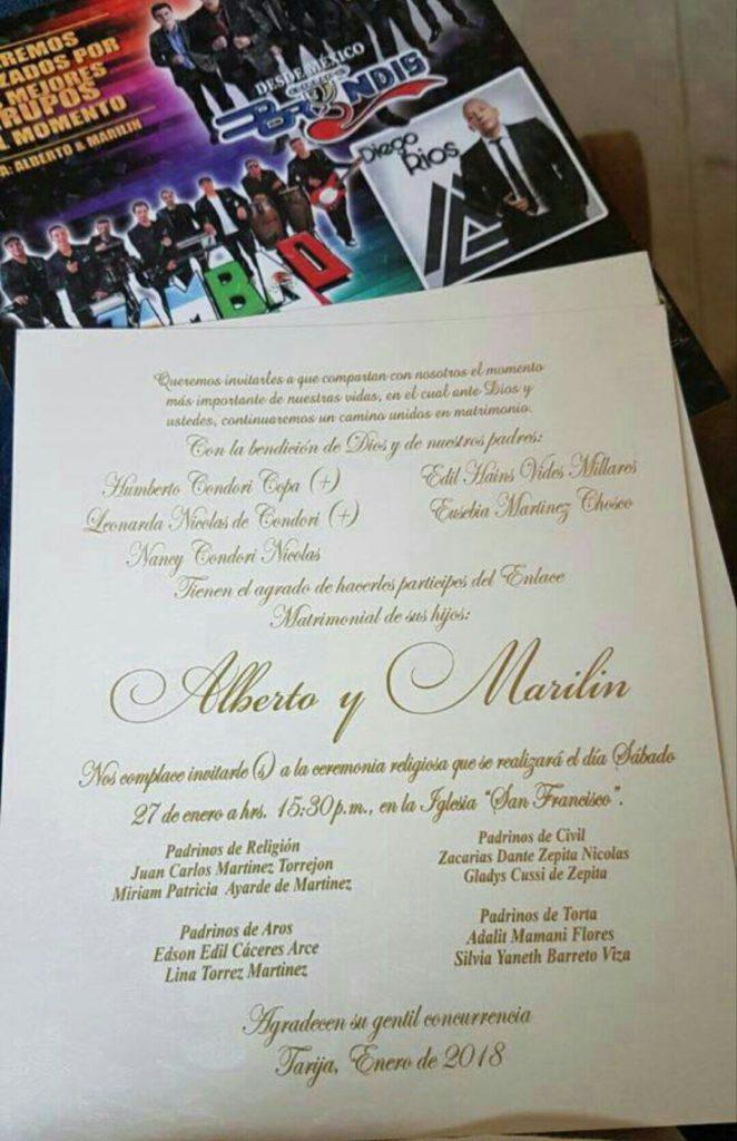 La boda de Alberto y Marilin es real y se celebrará en Tarija el 27 de enero