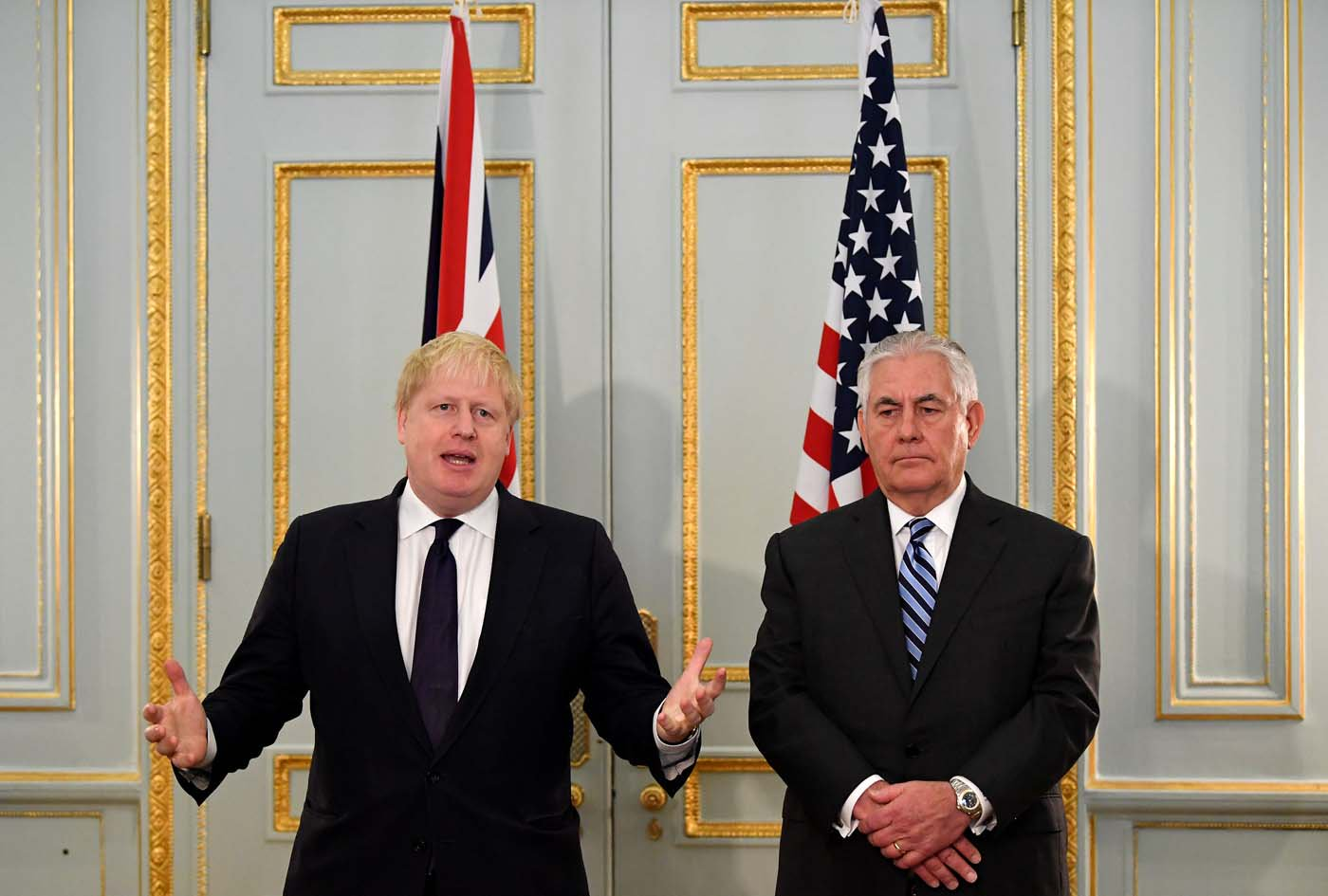 U.S. Secretary of State Rex Tillerson and Britain's Foreign Secretary Boris Johnson attend a press conference in London, January 22, 2018. REUTERS/Toby Melville