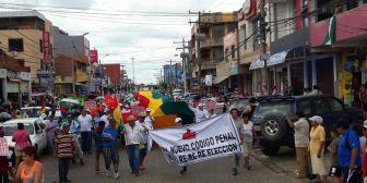Marchas en contra de la repostulación, mientras Evo brindaba su informe