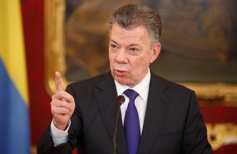 El presidente de Colombia, Juan Manuel Santos, ofrece una rueda de prensa en Viena