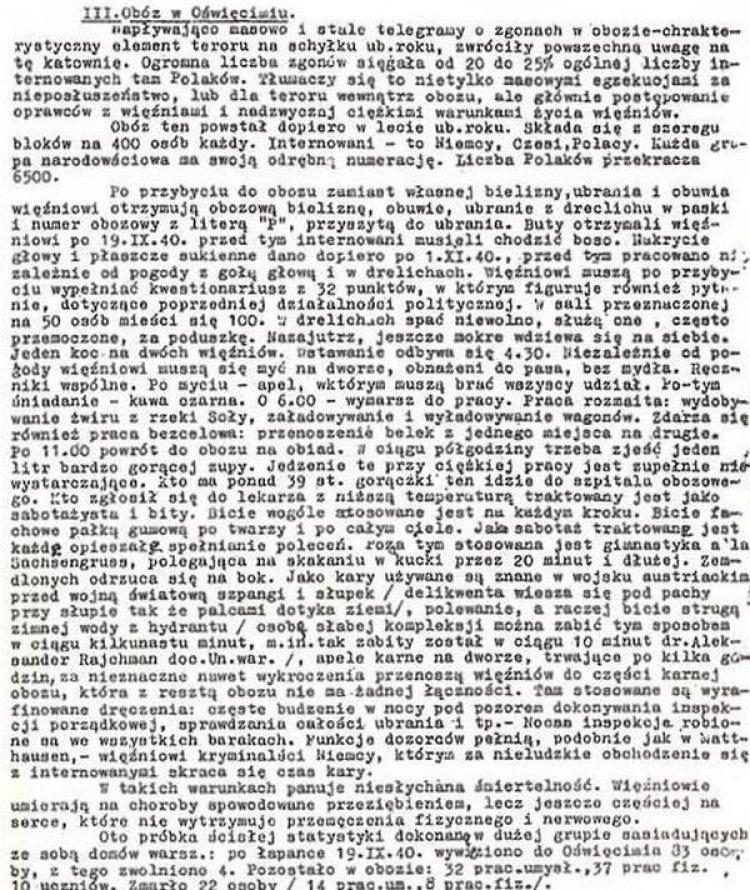 Un informe escrito que pudo ser sacado del campo. Este en particular describía las condiciones en Auschwitz y llegó a Gran Bretaña en marzo de 1941 (Museo Estatal de Auschwitz-Birkenau)